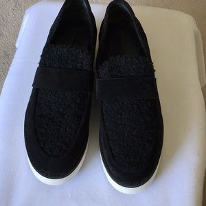 Vince Black Suede & Textile Loafers